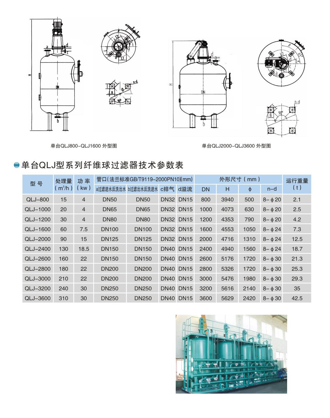 单台QLJ型系列纤维球过滤器技术参数表(图2)